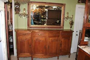 French Antique Louis Xv Walnut Long Sideboard Buffet With 4 Doors