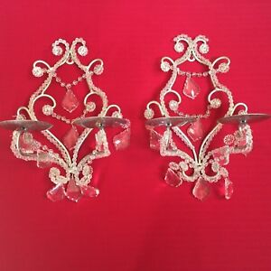 Pair Of Candle Wall Sconces With Crystal Prisms Silver 2 Arm