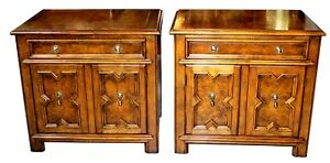 Pair Of Vintage Walnut Burlwood Baker Furniture Co Nightstands