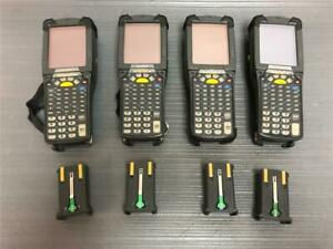 Lot Of 4x Symbol Motorola Mc9090 ku0hjefa6wr Wireless Barcode Scanners W battery