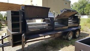Double Doors T Rex Bbq Smoker Cooker Grill Trailer Mobile Food Truck Business