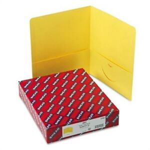 Two pocket Portfolio Embossed Leather Grain Paper Yellow 25 box 2 Pack