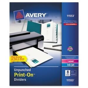 Print on Dividers 8 tab Unpunched 8 1 2 X 11 White 5 Sets pack 2 Pack