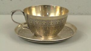 Antique French Silver Cup And Saucer Circa 1774 1780