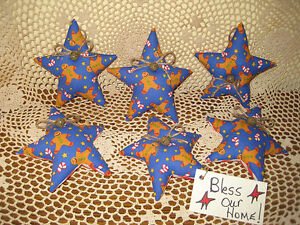 6 Christmas Blue Fabric Gingerbread Stars Ornaments Wreath Making Home Decor