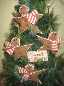 4 Handmade Fabric Gingerbread Stars Ornaments Country Christmas Home Decor