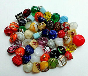 Lot Of 50 Tiny Antique Glass Buttons Color Shape Size Variety