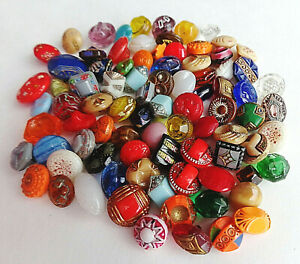 Lot Of 80 Tiny Antique Glass Buttons Color Shape Size Variety