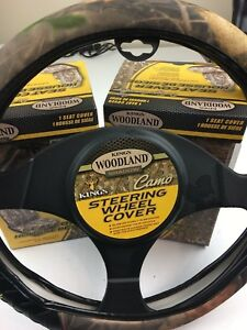 King s Woodland Combo Camo Car Truck Steering Wheel Cover And 2 Seat Covers Nib