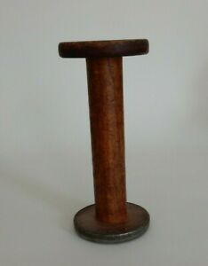 Antique Primitive Wooden Wood Spool Used With Thread Repurpose This R
