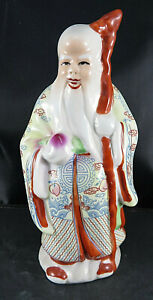 Vtg Porcelain Buddha Dragon Stick Wise Old Chinese Man Figurine Hand Painted