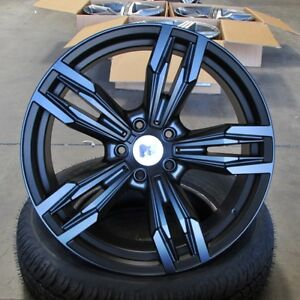 M6 Style 18x8 9 5x120 Et35 37 Satin Black Wheel Set Fit Bmw 328i 335i
