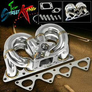 For 88 00 Civic Crx Del Sol B Series T3 Ram Horn Turbo Turbocharger Manifold