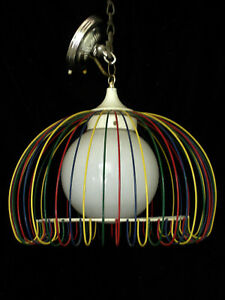 Vtg Mcm Midcentury Space Age Hanging Lamp Chandelier Spaghetti Wire Cage