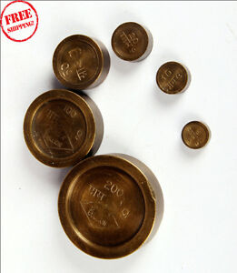1900 S Indian Antique Hand Crafted Brass Set Of 6 Measuring Weights 9397