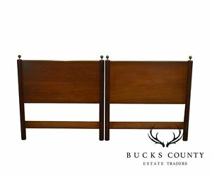 Beacon Hills Collection Campaign Style Pair Vintage Teak Twin Headboards