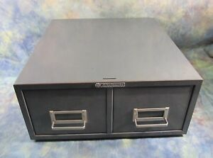 Gray Tone Steelmaster 2 Drawer File Cabinet With Index Card Dividers 4 x6 Cards