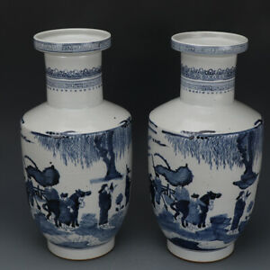 16 A Pair Qianlong Mark China Old Porcelain Blue White Character Story Vase