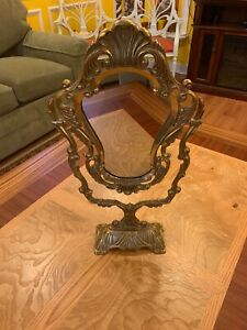 Vintage Ornate Solid Brass Tilting Vanity Mirror 20 Inch Tall