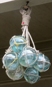 Japanese Fishing Floats 7 Netted Glass Hanging Authentic Pool Tiki Decor