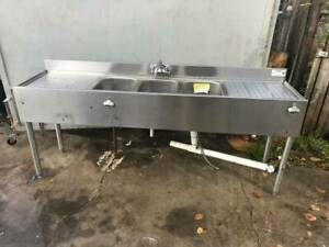 Krowne Stainless Steel Underbar Sink 3 Centered Compartments