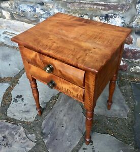 American 19th Century Maplewood Two Drawer Stand