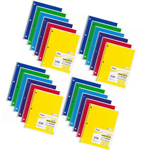 Mead Spiral Notebook Wide Ruled 1 Subject 70 Sheets 8 X 10 5 Inches Assorte