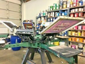 Vastex V 2000 Heavy Duty Screen Printing Press 8 Color 4 Station W Flash