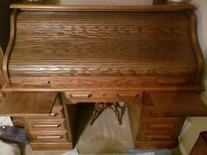 Solid Brown Red Oak Roll Top Desk