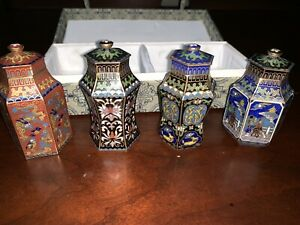 Set Of 4 Chinese Cloisonne Jar With Lid