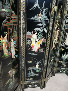 Antique Chinese Wood Lacquered Carved Stone 4 Panel Screen Room Divider