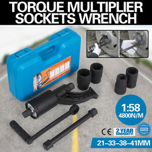 1 58 Torque Multiplier Set Wrench Lug Nut W 4 Sockets Extension Case Remover