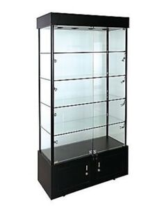 Glass Tower Showcase Led Light Assembled Rectangular Display Case Lock Black New