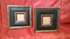 Vintage Brushed Gold Wood W Black Leather Inlay Picture Frame Lot Of 2