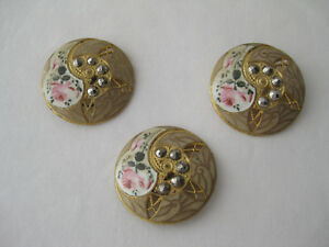 Set Of 3 Brass Buttons With Steel Cut Beads And Enamel Rose Design