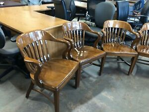 Lot Of 8 Solid Wood Vintage Guest side Chairs By Sikes Co
