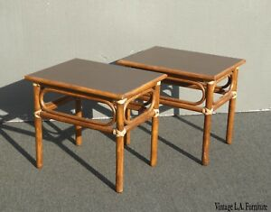 Vintage Mcguire Mid Century Modern Bamboo Rattan End Tables W Leather Bindings