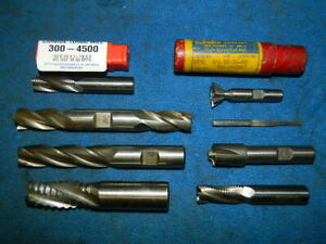 Lot Of 8 Used End Mills Various Sizes And Shapes