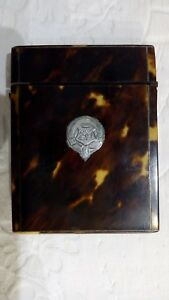 Antique Victorian Tortoiseshell Visiting Calling Card Case Silver Cartouche