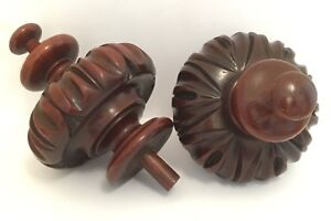 Antique Victorian Hand Carved Wood Finial Pair Stair Newel Post Or Bed Post Ends