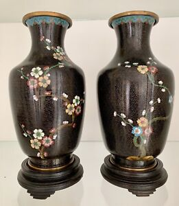 Pair Of Antique Chinese Cloisonne Vases Beautiful And Perfect
