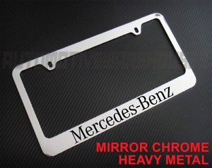 Mercedes Benz Text Chrome Metal License Plate Frame