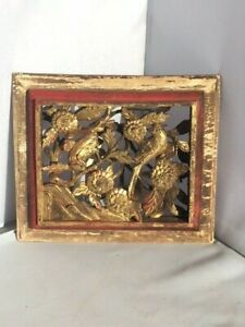 Small Antique Chinese Gilt Carving With Bird And Flowers