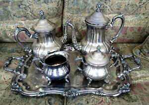 Towle Silverplate Large Tray Coffee Tea Service Creamer Covered Sugar Bowl