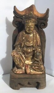 Antique Chinese Wooden Gilt Statue Kwan Yin With Wooden Shrine Stand