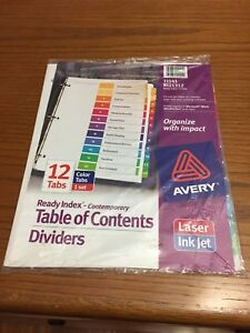Lot Of 8 Avery 11141 Ready Index Table Of Contents Dividers 12 Color Tabs