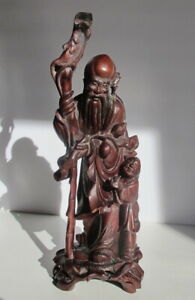 Antique Chinese Qing Dynasty Carved Wood Immortal Child Statue 11 75 Tall
