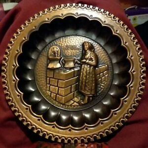 Ricordo Del Molise Repousse Hammered Copper Wall Plate Hanging Vintage 9 5