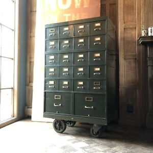 Vintage Card File Metal Card Catalog Rolling File Cabinet Storage