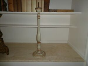 Antique 19th Century Italian Wood Religious Altar Candlestick In Baluster Form